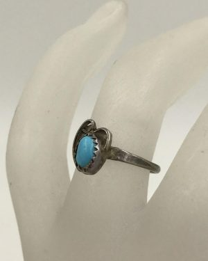 Vintage Sterling Silver Cabochon Turquoise Ring Southwest Style Size 5 Signed Sterling M