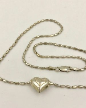 Vintage Sterling Silver Petite Women's Puff Heart Bead Chain Necklace 16″