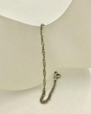 Vintage Sterling Silver Twirl Prince of Wales Chain Designer Bracelet 7″