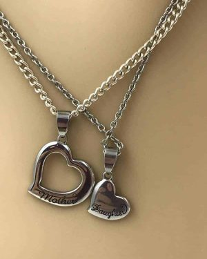 "Best Friend Mother Daughter Heart Necklace Stainless Steel Set of Two Signed ""JCM S. Steel China"""
