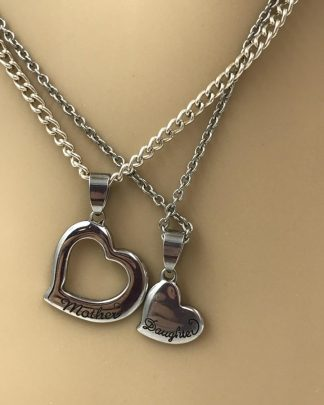 Best Friend Mother Daughter Heart Necklace Stainless Steel