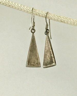 Vintage Sterling Silver Triangle Dangle Earrings Southwest Style 925