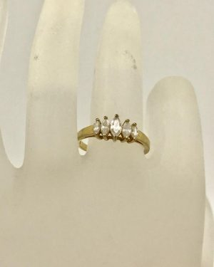 Gold Tone Stainless Steel Marquise Crystal Ring Size 8.5