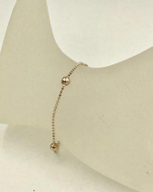 Sterling Silver Ball Bead Bracelet 6″