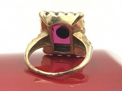 Beautiful Vintage Yellow White 10K Gold Ruby Diamond Ring
