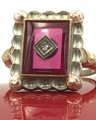 Ruby Diamond Vintage 10K Rose Yellow White Gold Ring
