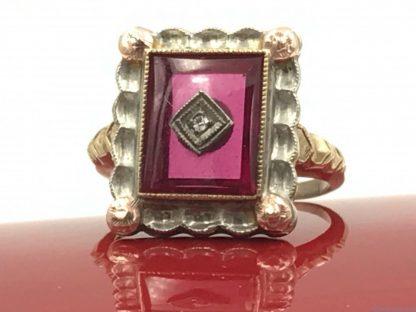 Ruby Diamond Vintage 10K Rose Yellow White Gold Ring