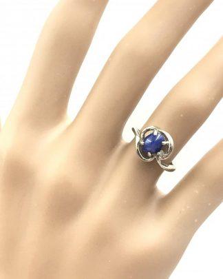 BLUE STAR SAPPHIRE CABOCHON DIAMOND 10K WHITE GOLD RING