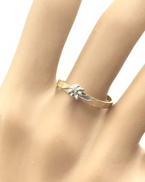 Illusion Setting Diamond Solitaire Vintage Engagement Ring 10K Yellow Gold Size 7.5
