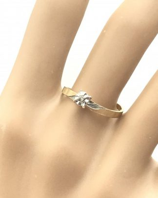 Vintage Yellow Gold 10 K Diamond Designer Ring