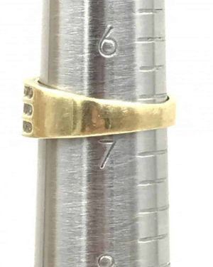 Vintage Pave Diamond Band Anniversary Gift 10K Yellow Gold Ring Size 6.75