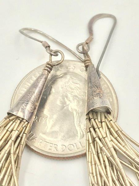925 Sterling Silver Old Pawn Southwestern Liquid Chain Earrings Vintage for sale