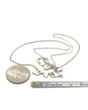 Cursive Love Sterling Silver Designer Necklace 16″