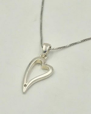 Diamond Tilted Heart Pendant Necklace Sterling Silver 18″