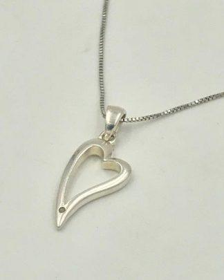 diamond tilted heart pendant for sale