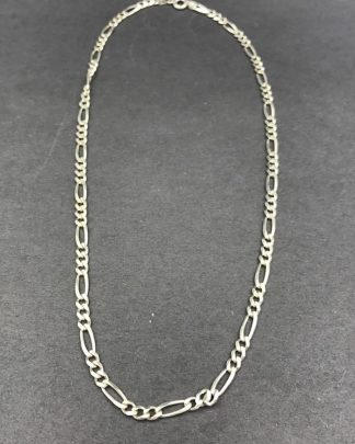 Sterling Silver Designer OTC Figaro 3.8 mm Chain Necklace 16""