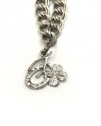 Lucky Sterling Silver 4 Leaf Clover Horseshoe Charm Bracelet