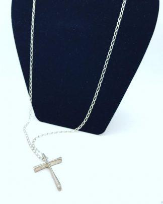 Vintage Sterling Silver Men's Big Cross Necklace
