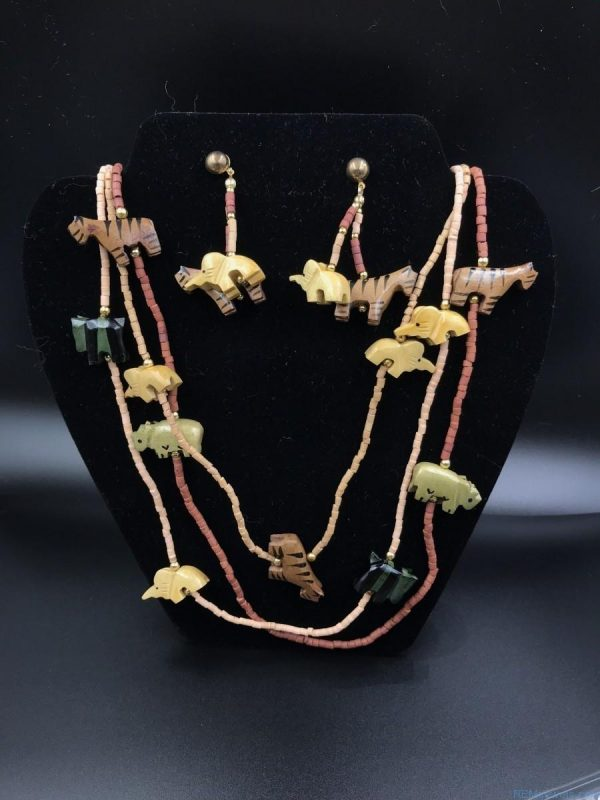 Carved Wood Jungle Statement Necklace Multi-Strand Beaded Set