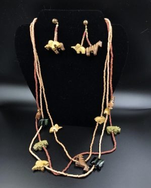 Painted Carved Wood Jungle Statement Necklace Multi-Strand Beaded Set Brown Tan Green Black – Made in Phillipines