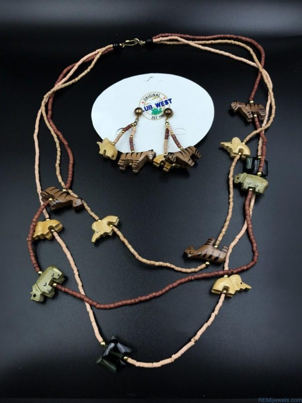 Painted Carved Wood Elephant Jungle Statement Necklace Set