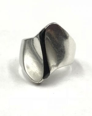 Vintage Sterling Silver Mexico Modernistic Geometric Black Stripe Ring Size 7.5 Hallmark TF-55 925 Mexico