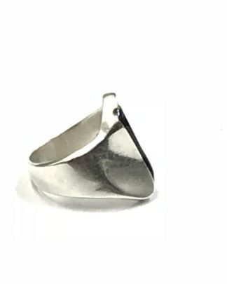 Vintage Sterling Silver Mexico Modernistic Geometric Black Strip Ring