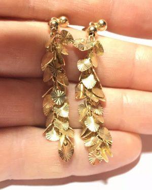 Rare Vintage Signed Midas Turkey Solid Gold 14K Leaf Stud Earrings
