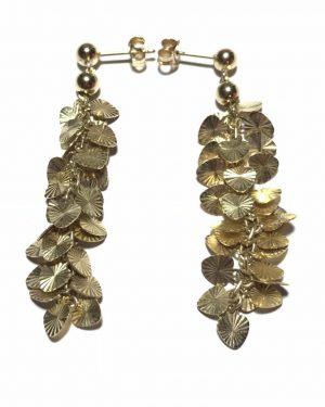 Rare Vintage Signed Midas Turkey Solid Gold 14K Leaf Stud Earrings Unique