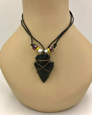 Vintage Black Arrowhead Beaded Necklace Nylon Cord 16″ – Southwest Style – Tribal