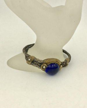 Vintage Leather Wrap Bracelet Cabochon Glass Bead Gold Tone S Hook 8″