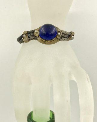 Vintage Leather Wrap Bracelet Cabochon Glass Bead