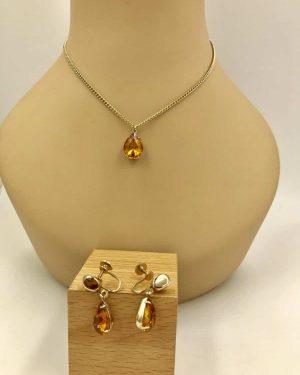 Vintage Coro Amber Rhinestone Pendant Necklace Earring Jewelry Set 16″