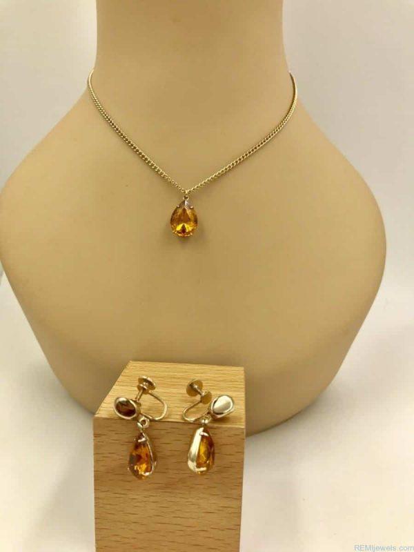 Vintage Coro Amber Rhinestone Charm Necklace Earring Set