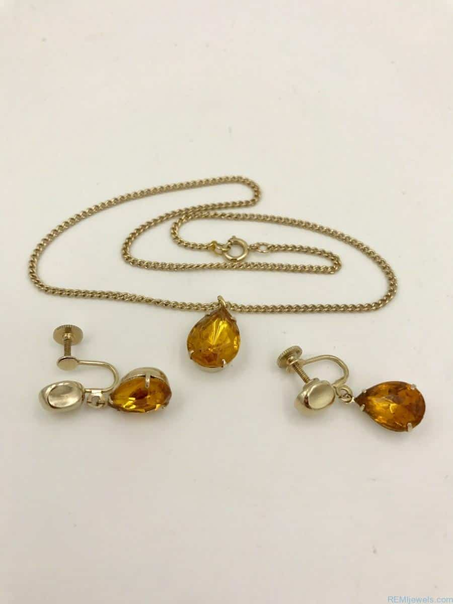 da330cb38 Vintage Coro Amber Rhinestone Charm Necklace Earring Set 16″ 1940s Vintage  Coro Jewelry Signed Coro Retro Jewelry