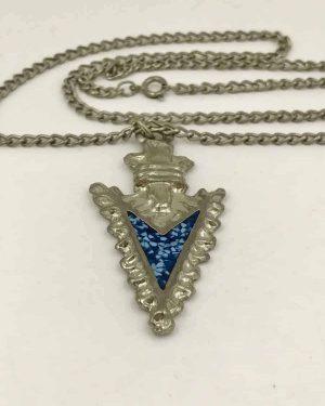 Silver Tone Arrowhead Charm Pendant Necklace 24″ – Southwest Style – Tribal