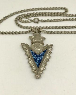 "Silver Tone Arrowhead Charm Pendant Necklace 24"""