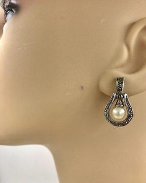 Vintage Sterling Silver Pearl Post Earrings – Signed 925