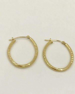 14K Yellow Gold Textured Oval Hoop Earrings 1.28g
