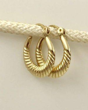 14K Yellow Gold Ribbed Hoop Designer Earrings – Signed ON 14K – 1.74g
