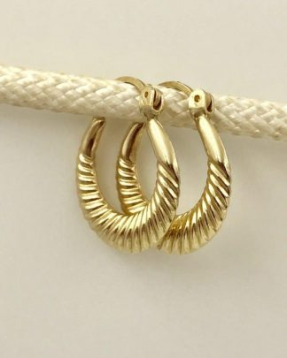 14K Yellow Gold Ribbed Hoop Designer Earrings