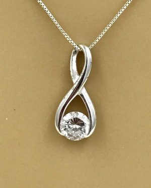Sterling Silver Infinity Knot Necklace 18″