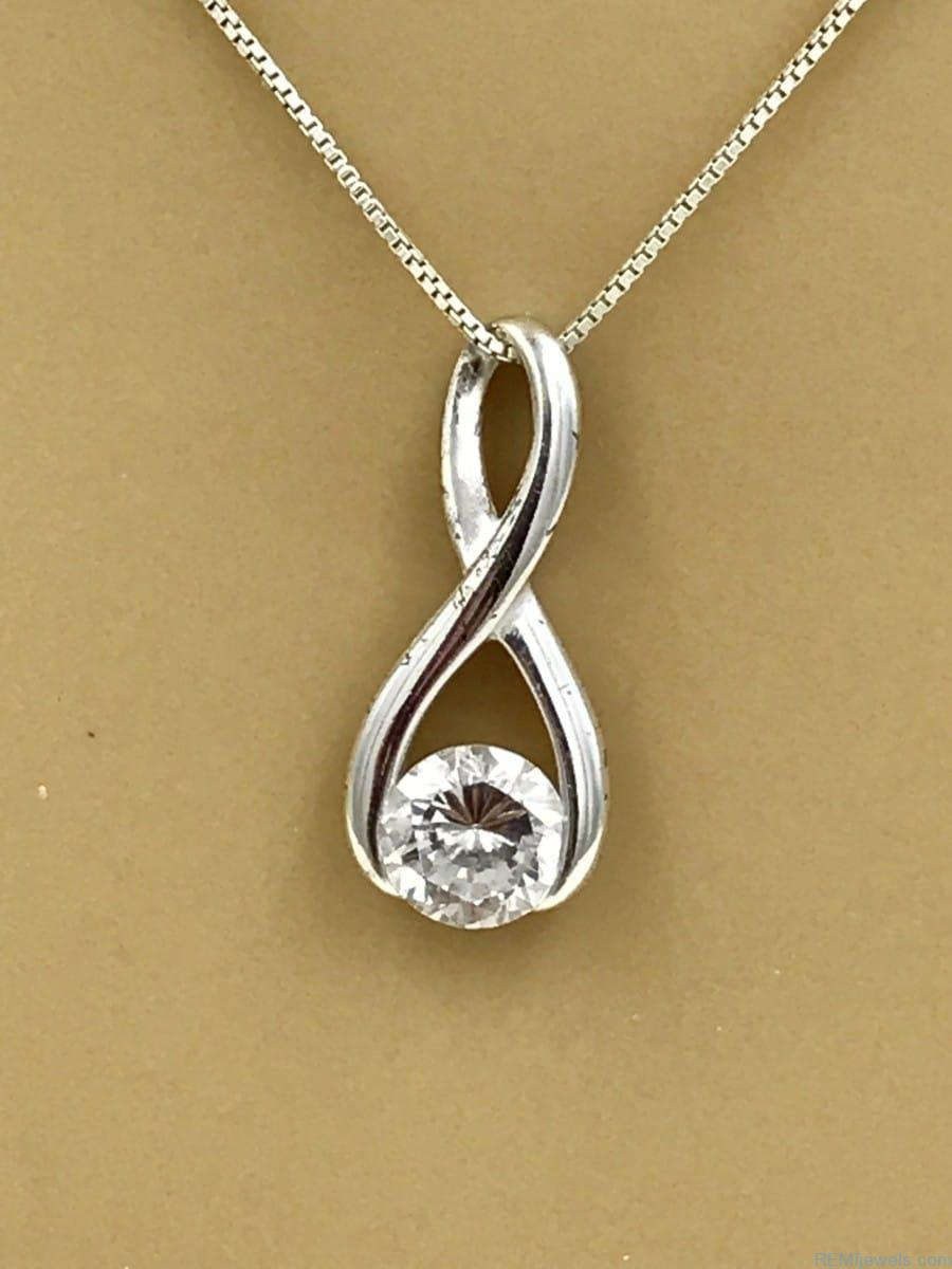Sterling Silver Infinity Knot With Stone Necklace