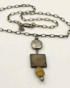 Silpada Sterling Silver Tigers Eye Mother of Pearl Necklace