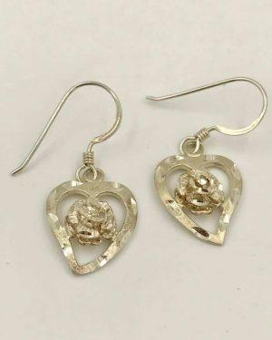 Heart Rose Sterling Silver Dangle Earrings