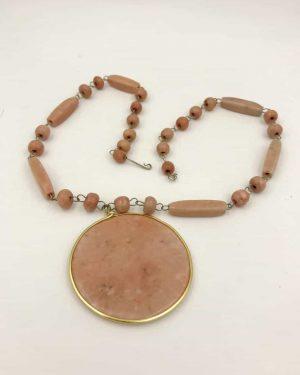 Unique Vintage Carved Pink Alabaster Gemstone Aztec Sun Necklace Pendant – 22″ Sundial Necklace – Huge