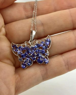 New Chrysos Solid Sterling Silver Purple Butterfly Necklace – 925 Italy – Sparkly – New w/ Tag