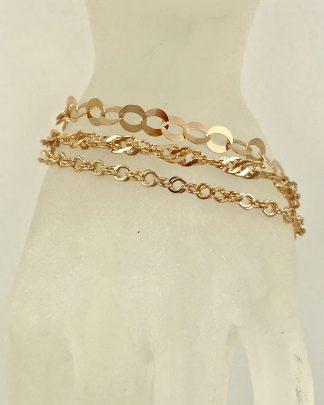Milor Bronze Italy Rose Gold Tone Bronze Link Bracelets