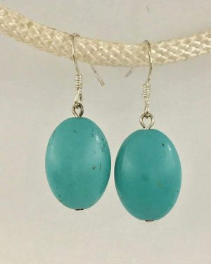 Sterling Silver Turquoise Dangle Earrings – Signed 925