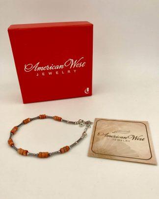 American West Solid Sterling Silver Orange Ankle Bracelet